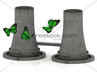 Green butterfly and two reinforced concrete cooling towers