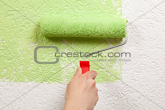 Painter paints a wall with a paint roller