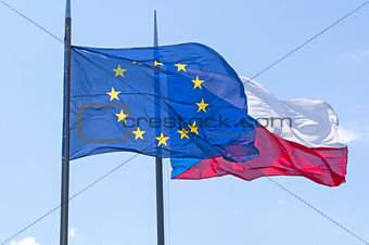 Flags of Czech Republic and European Union