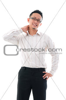 asian chinese business Man with neck pain in agony