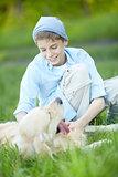 Cuddling dog