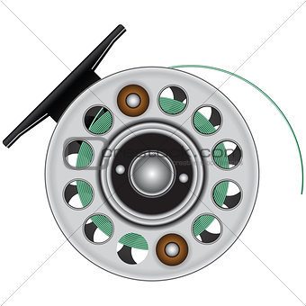 Fly reel with fishing line