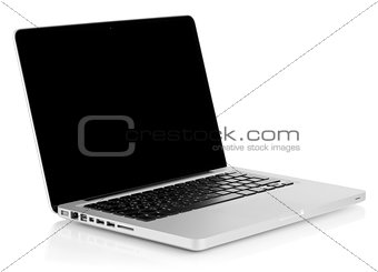 Aluminum laptop with black screen