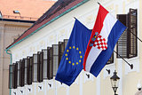 EU and Croatian flags together on Government building