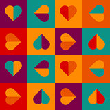 Geometrical pattern with hearts in bright colors,
