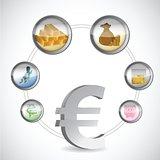 euro symbol and monetary icons cycle