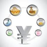yen symbol and monetary icons cycle