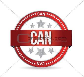 can on red rubber stamp illustration design
