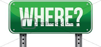 where green road sign illustration