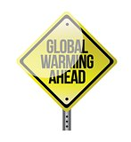 global warming yellow road sign