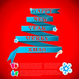 Merry XMas greeting card vector illustration