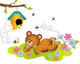 Teddy bear admiring beehive