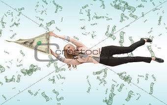 business woman attached to her savings