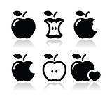Apple, apple core, bitten, half vector icons