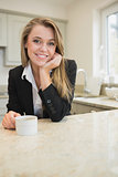 Woman drinking coffee at morning