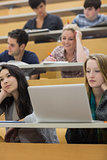 Listening students in a lecture hall