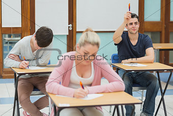 Student wanting to ask question in class