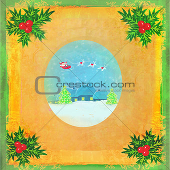 card with Santa, winter landscape and abstract holly berry decor