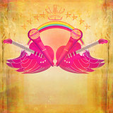 Microphone, guitar and wing motif - Abstract party design