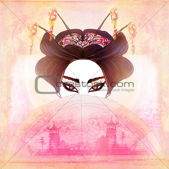 Abstract Beautiful geisha Portrait