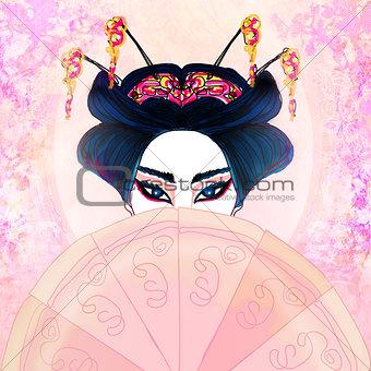 Abstract Beautiful geisha Portrait