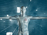 Human medical representation standing over futuristic background