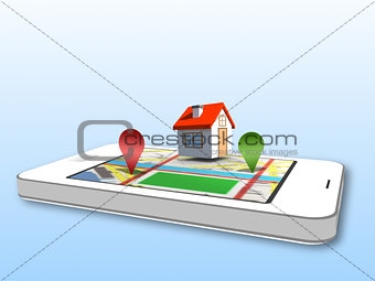 Smartphone showing map application with 3d markers