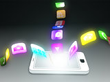 Smartphone with applications floating everywhere