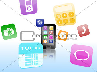 Smartphone with application logos floating around