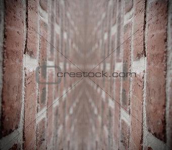 Corridor with bricks wall