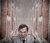 Angry businessman in a dead end