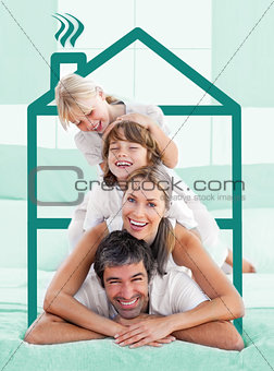Family having fun doing a piggyback