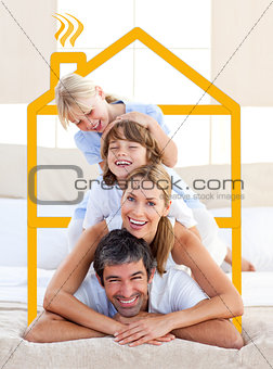 Family having fun doing a giant piggyback