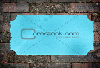 Blue textured label with frayed edges