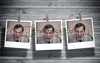 Three instant photos of an angry businessman