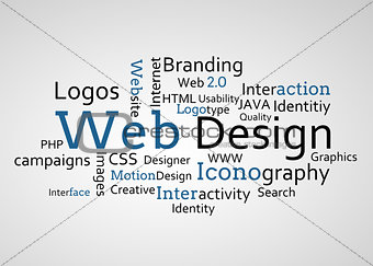 Group of blue web design terms