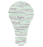 Various green words forming a light bulb