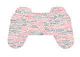 Various red words representing a joystick