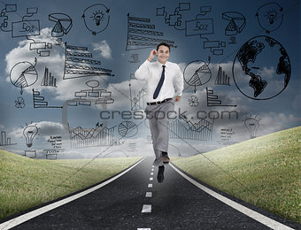 Smiling business man running on a road