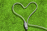 Usb cable forming a heart