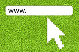 Big computer arrow pointing to url link