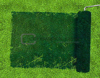Paint roller over grass