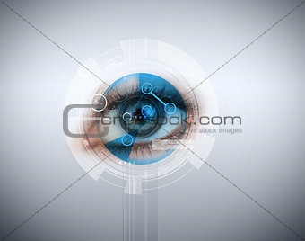 Woman having an eye recognition