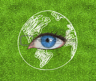 Blue eye surrounded by a drawing of the Earth