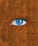 Blue eye over brown texture