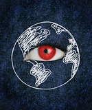Red eye over blue texture surrounded by a drawing of the earth