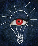 Red eye over blue texture surrounded by a drawing of a lightbulb
