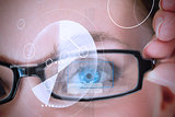 Womans eye being scanned for authorization