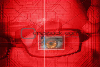 Woman having an eye analysed