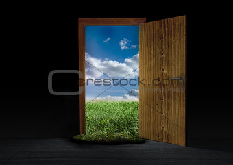 Opened door showing landscape of countryside